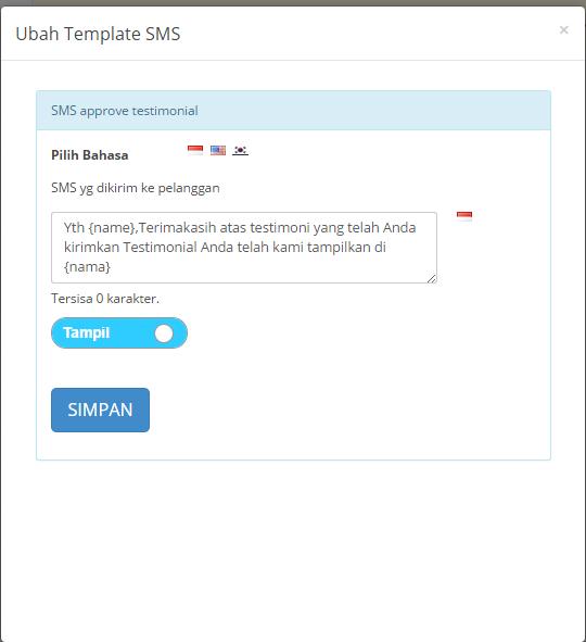 ubah template sms