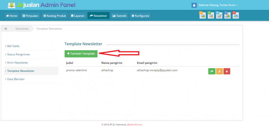 tambah template newsletter